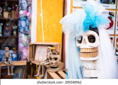Traditional Mexican woman sculpture Catrina. Day of the Dead, Mexico, Latin America