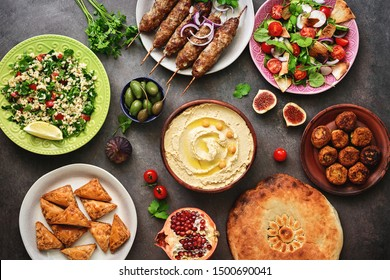 Traditional Middle Eastern or Arabic dinner table. Halal food. Top view, flat lay