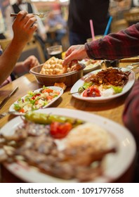 Traditional Middle Eastern Iftar dinner. Selective focus