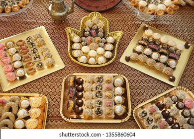 Traditional Middle Eastern Jewish dessert trays with truffles  displayed at parties and cultural events, especially in Israel