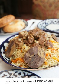 Traditional Middle Eastern pilaf rice on served restaurant table