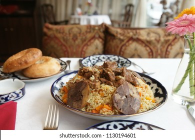 Traditional Middle Eastern pilaf rice served on restaurant table