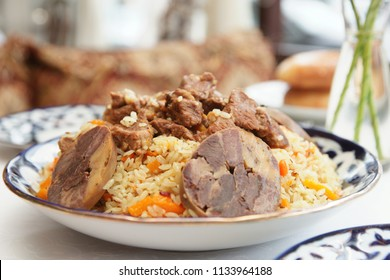 Traditional Middle Eastern pilaf rice served in deep plate