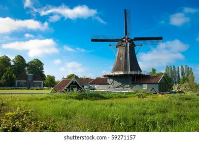 traditional mill in Deventer Netherlands, built in 1863. After a thorough restoration, finished in 2007, the mill is in use as a sawmill.