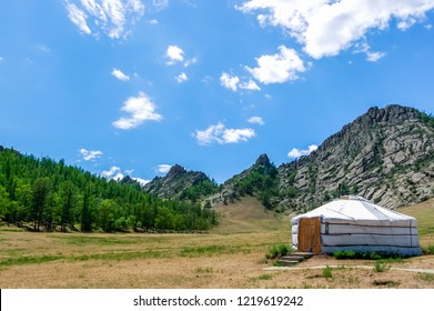 Traditional Mongolian yurt called a ger in tourist camp in Gorkhi-Terelj National Park, Tov Province, central Mongolia