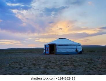 Traditional Mongolian yurt in Khongoryn Els, Sand dunes in Gobi desert, Mongolia, East Asia