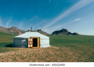 A traditional mongolian yurt in the plains of mongolia