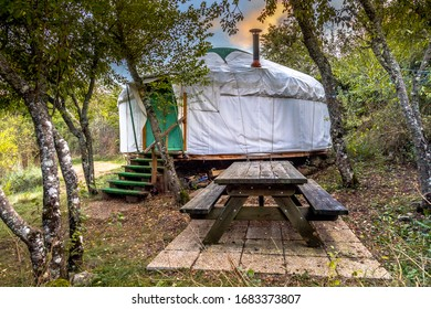 Traditional Mongolian Yurt. This type of shelter is often used as holiday accommodation in Europe