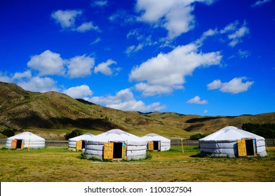 Traditional Mongolian yurts in Orkhon national park in central Mongolia