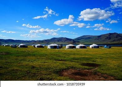 Traditional Mongolian yurts at Terkhiin Tsagaan Lake also known as White Lake is a lake in the Khangai Mountains in central Mongolia