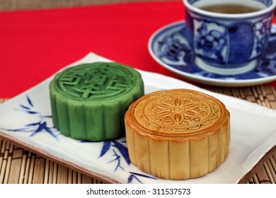 Traditional mooncakes  , Retro vintage style Chinese mid autumn festival foods