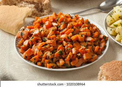 Traditional Moroccan carrot salad as a side dish