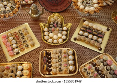 Traditional Moroccan dessert trays displayed at Middle Eastern parties