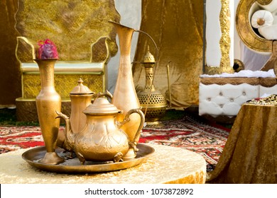 Traditional Moroccan kettle tea set at Celebtarion of Mimuna holliday ( jewish Marrocans Holliday) day after passover
