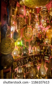 Traditional moroccan lamps on market in Fes, Morocco