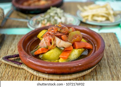 Traditional Moroccan meal - tagine on a table front view