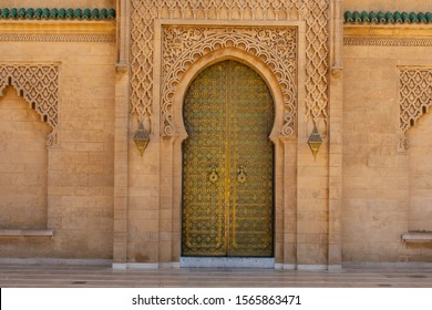Traditional Moroccan oriental style entrance doors with mosaic colors in Marrakesh, Morocco