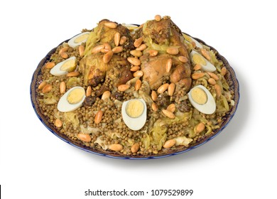 Traditional Moroccan Rfissa dish with eggs and almonds isolated on white background