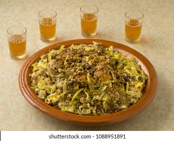 Traditional Moroccan Rfissa served with tea