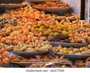 Traditional moroccan sweets on sale at Marrakesh market