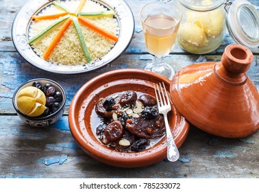 Traditional moroccan tajine of beef and prunes and almonds, close view.