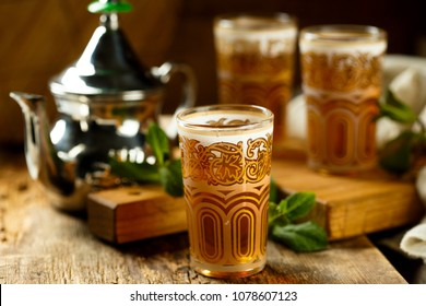 Traditional Moroccan tea with mint