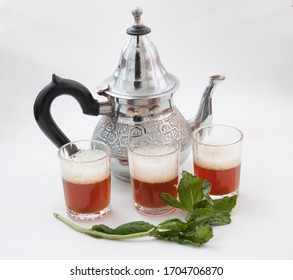 Traditional Moroccan tea on white