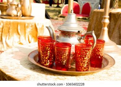 Traditional Moroccan tea set. Celebtarion of Mimuna holliday ( jewish Marrocans Holliday)