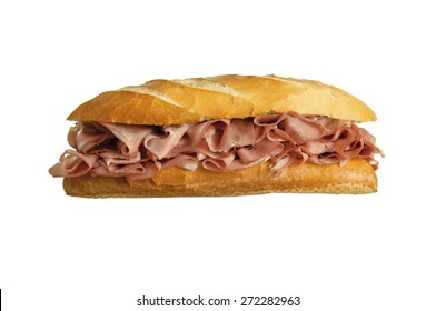 Traditional Mortadela Sandwich isolated in white