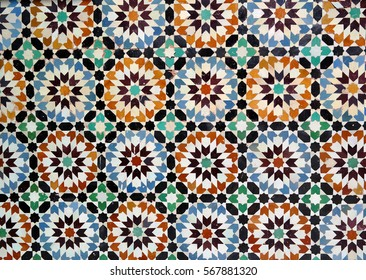 Traditional mosaic tiles known as zellige in Morocco, Marrakesh