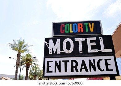 """Traditional """"Motel"""" entrance sign from an era when a color TV was still a luxury"""