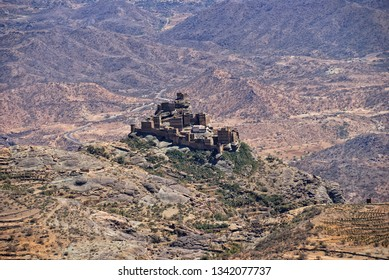 Traditional mountain castle village in Eastern Haraz Yemen