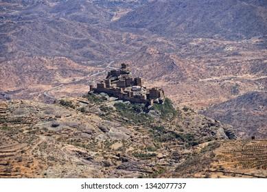 Traditional mountain castle village in Eastern Haraz Yemen