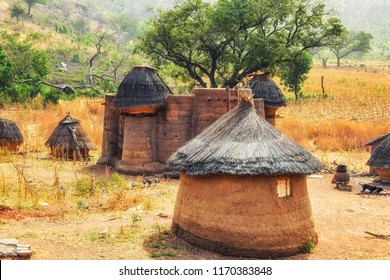 Traditional mud an clay housing of the Tata Somba tribe of nothern Benin and Togo, Africa