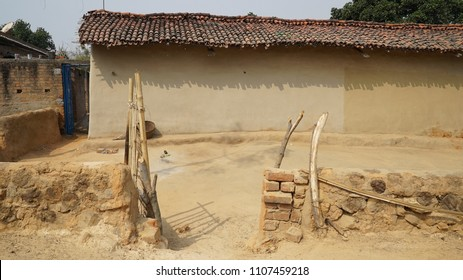 Traditional Mud wall house hut with clay roof (Khaprail in Hindi language) Daldali Village Rural India Dhanbad / Jharkhand state of India / at Jharkhand / India clicked on 10 February 2018