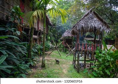 Traditional Murut longhouse in Mari Mari Cultural Village, Sabah, Malaysia.