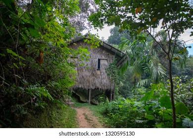 Traditional Murut longhouse in Penampang, Sabah, Malaysia.