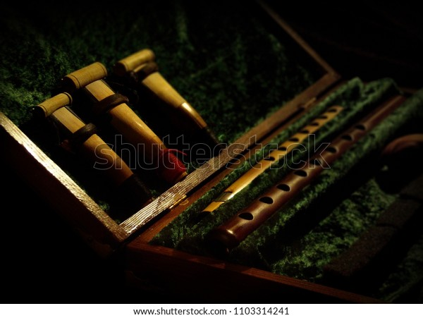 Traditional musical instruments from Armenia in velvet lined wooden cases