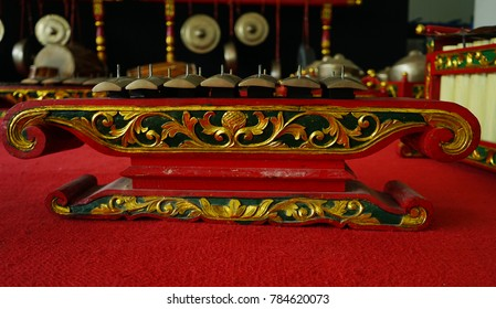 Traditional musical instruments used in Gamelan orchestra played in leather puppet show/Gamelan instruments/Javanese traditional musical instruments used in Gamelan orchestra leather puppet show.