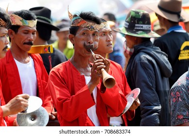 Traditional Musicians play Madurese music at the final of the Bull Race, held every year on the island of Madura in the Stadium of Pamekasan, Indonesia on November 25, 2015