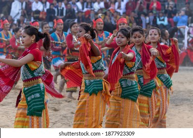 Traditional Naga dance being performed by womenfolk in Kisama heritage village in Nagaland India during hornbill festival on 2 December 2016
