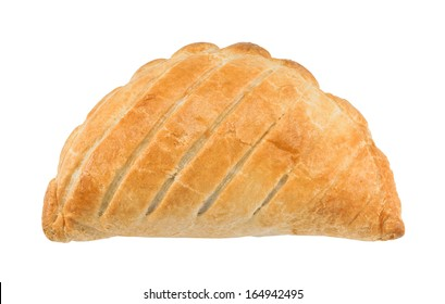 Traditional National Dish of Cornwall a Cornish Pasty isolated against a white background