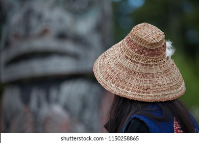 Traditional Native Alaskan Indian Woven Hat Woman and Totem Pole