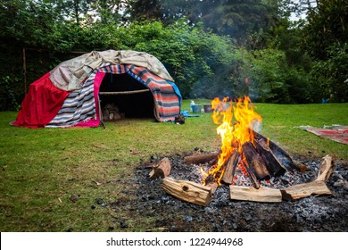 Traditional native sweat lodge with hot stones