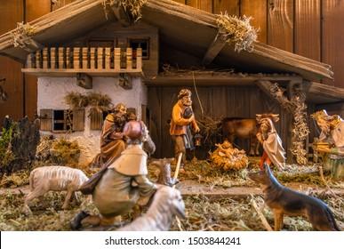 Traditional nativity scene at the Baden-Baden Christmas market,  Baden-Baden, Baden-Wuerttemberg, Germany, Europe, 12. December 2018