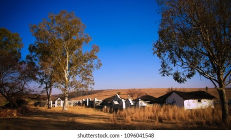 Traditional Ndebele hut at Botshabelo near Mpumalanga, South Africa