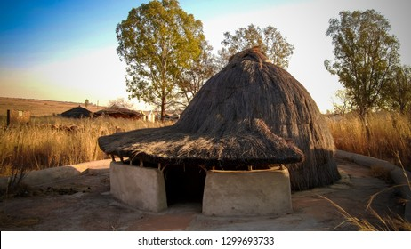 Traditional Ndebele hut at Botshabelo near Mpumalanga in South Africa