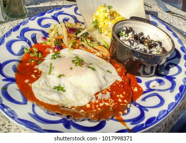 Traditional New Mexican Red Chile Enchilada with Fried Egg