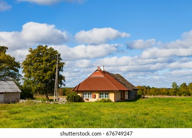 Traditional Northern Europe wooden house. Countryside view.