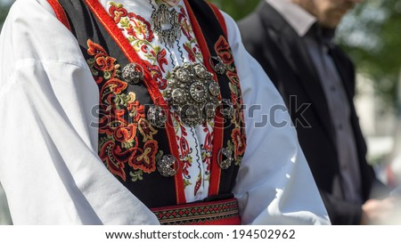 traditional norwegian clothing called bunad silver stock photo edit